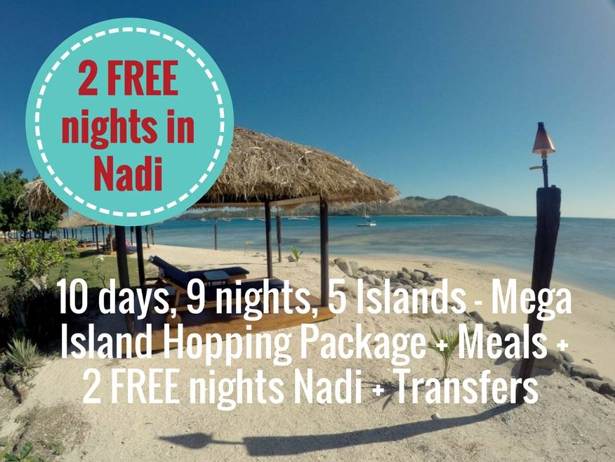 10 days, 9 nights, 5 Islands - Mega Island Hopping Package - incls Meals + 2 FREE nights in Nadi + Boat Transfers